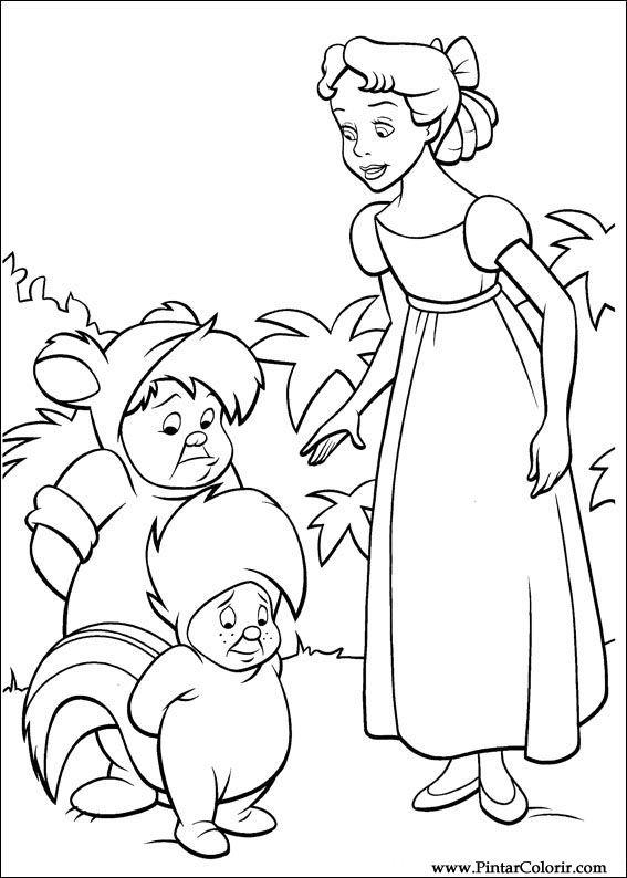 Dibujos para pintar y Color Peter Pan - Diseño de impresión 041
