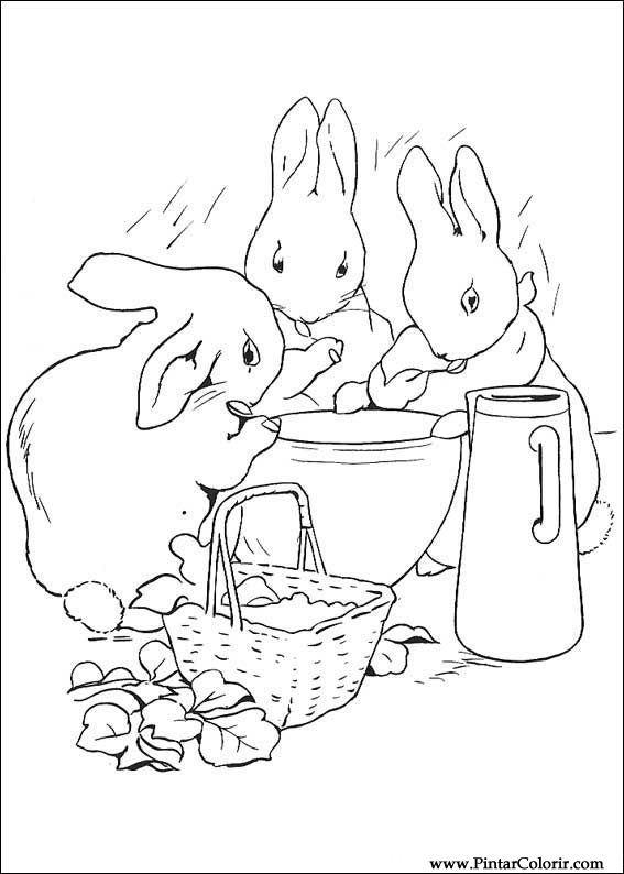 Dibujos para pintar y Color Peter Rabbit - Diseño de impresión 011