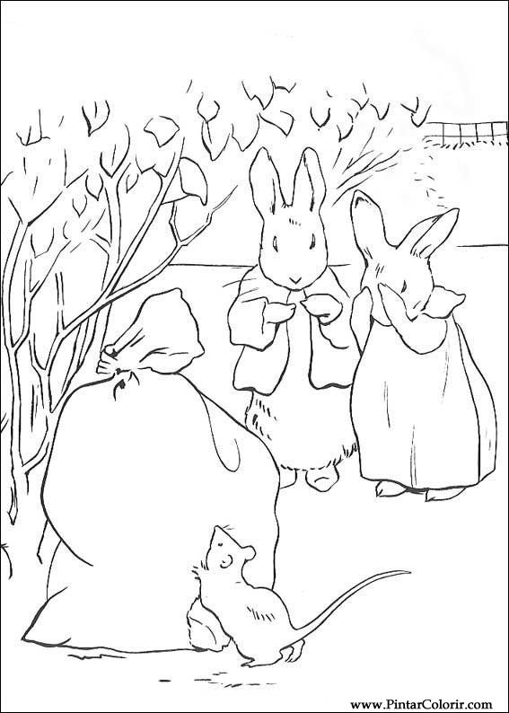 Dibujos para pintar y Color Peter Rabbit - Diseño de impresión 026