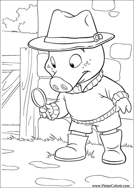Dibujos para pintar y Color Piggley Winks - Diseño de impresión 007