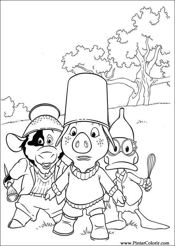 Dibujos para pintar y Color Piggley Winks - Diseño de impresión 017