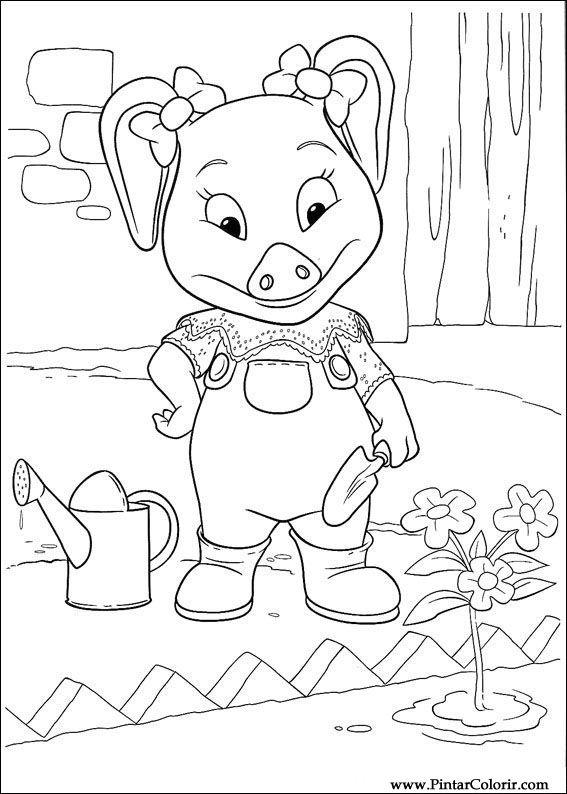 çizimler Boya Ve Renk Piggley Winks Için Baskı Tasarım 036