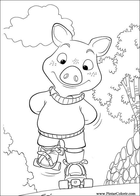 çizimler Boya Ve Renk Piggley Winks Için Baskı Tasarım 044