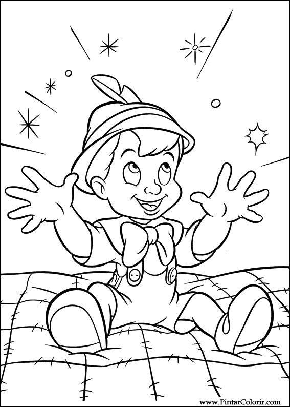 çizimler Boya Ve Renk Pinoquio Için Baskı Tasarım 005