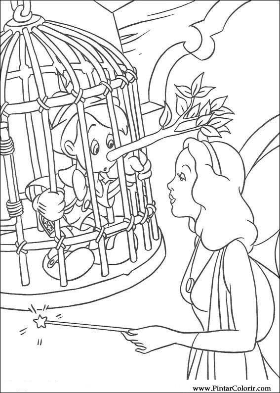 dibujos para pintar y color pinoquio diseño de impresión 014