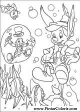 Pintar e Colorir Pinoquio - Desenho 019