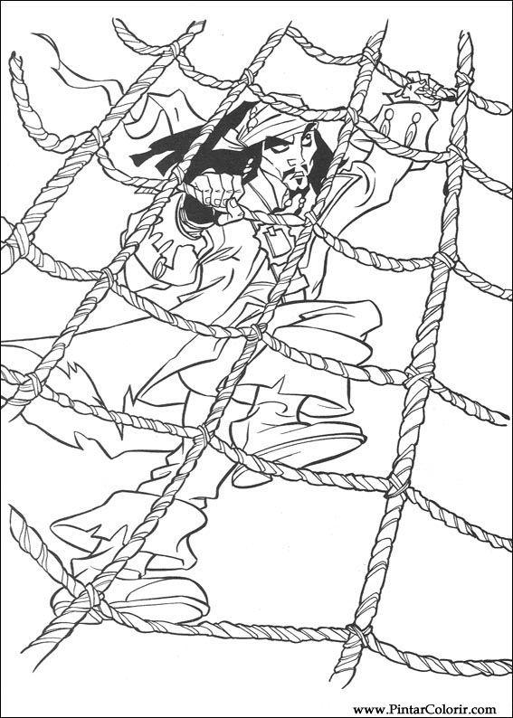 Dibujos para pintar y Color Piratas del Caribe - Imprimir Diseño 018