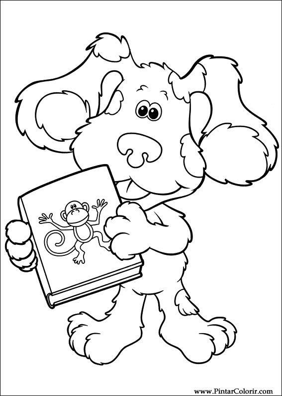 Dibujos para pintar y Color Azul pistas - Imprimir Diseño 030