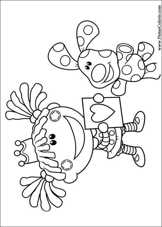 Dibujos para pintar y Color Azul pistas - Imprimir Diseño 035