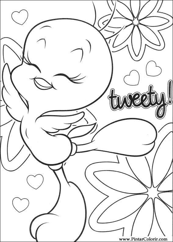 çizimler Ve Boya Için Renkli Tweety Baskı Tasarım 038
