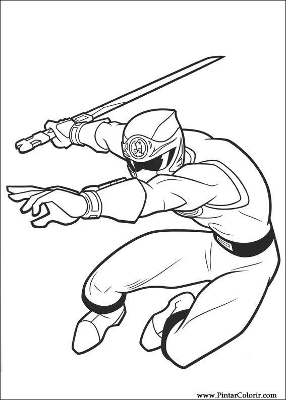 Dibujos para pintar y Color Power Rangers - Diseño de impresión 006