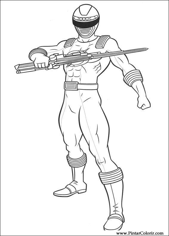 Dibujos para pintar y Color Power Rangers - Diseño de impresión 010