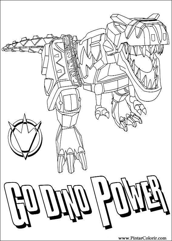 Dibujos para pintar y Color Power Rangers - Diseño de impresión 096