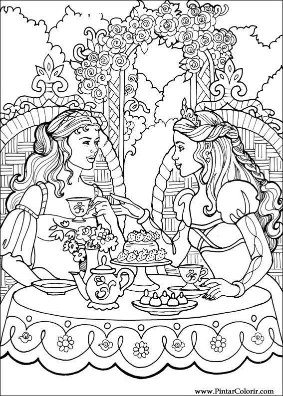 çizimler Boya Ve Renk Prenses Leonora Için Baskı Tasarım 004