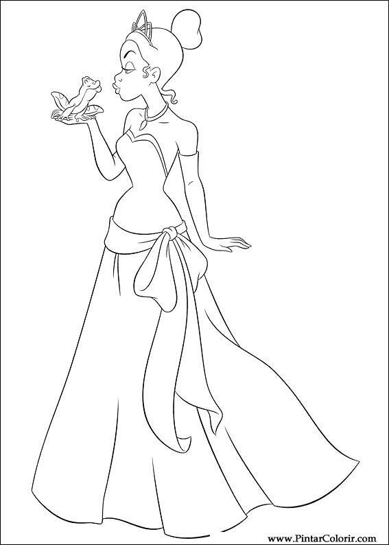Dibujos para pintar y Color princesa rana - Diseño de impresión 001
