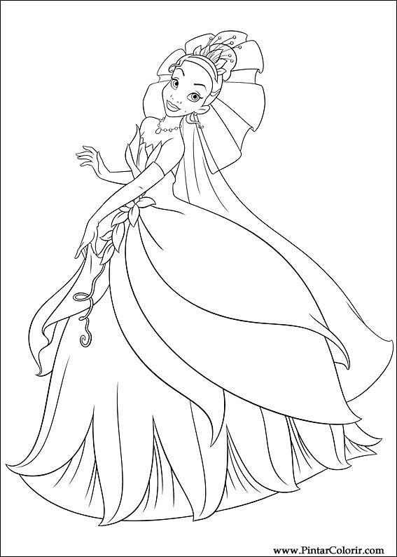 çizimler Boya Ve Renk Prenses Kurbağa Için Baskı Tasarım 004
