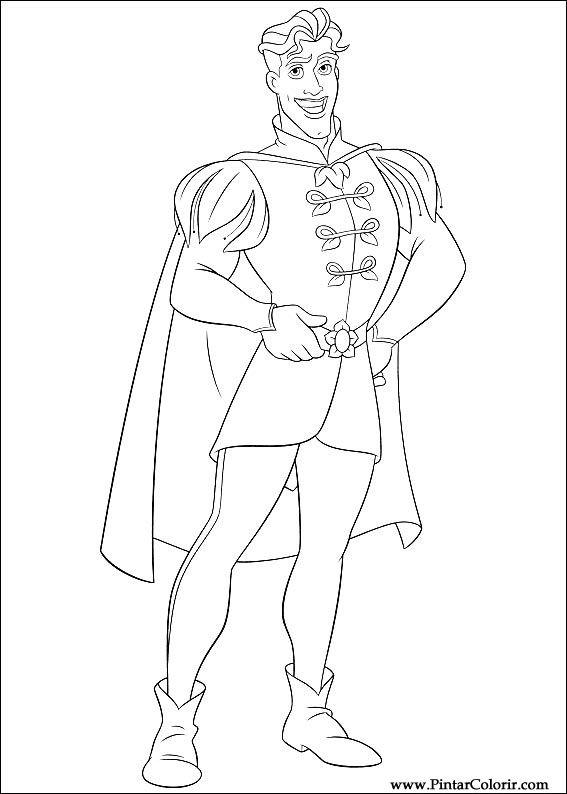 çizimler Boya Ve Renk Prenses Kurbağa Için Baskı Tasarım 008