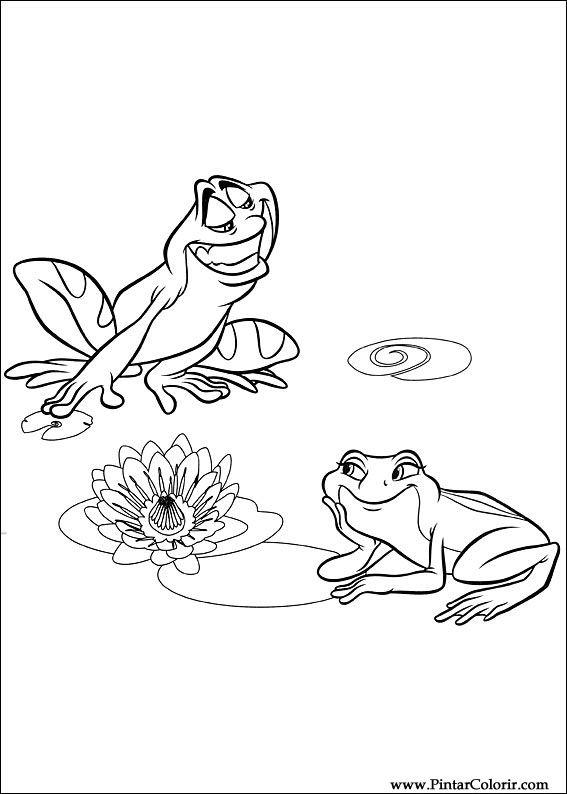 Dibujos Para Pintar Y Color Princesa Rana Diseño De Impresión 011
