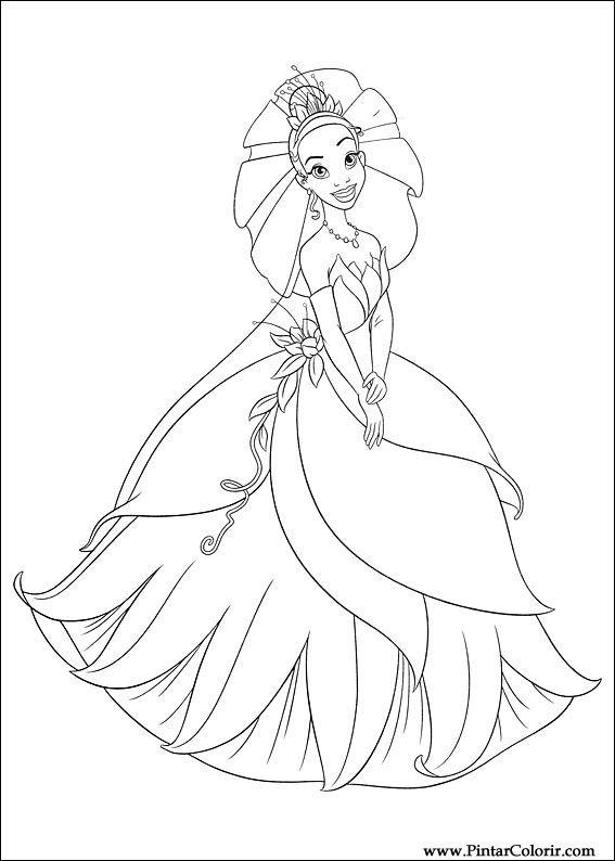 Dibujos para pintar y Color princesa rana - Diseño de impresión 014