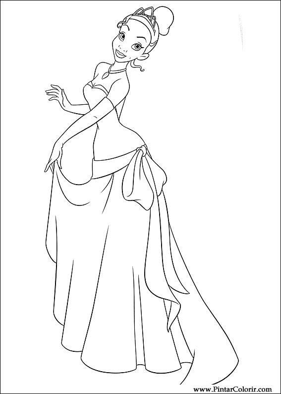 Dibujos para pintar y Color princesa rana - Diseño de impresión 015
