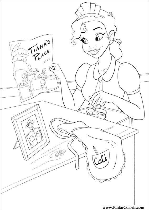 Dibujos para pintar y Color princesa rana - Diseño de impresión 022