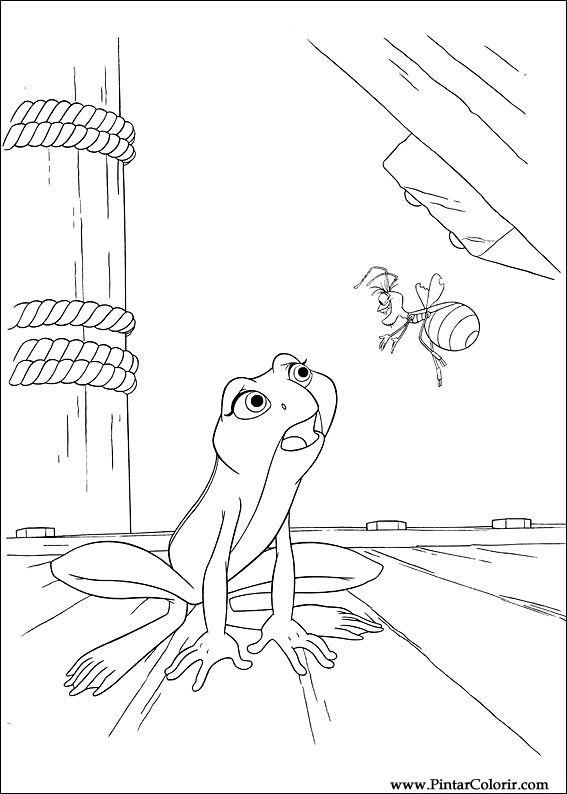 Dibujos para pintar y Color princesa rana - Diseño de impresión 051