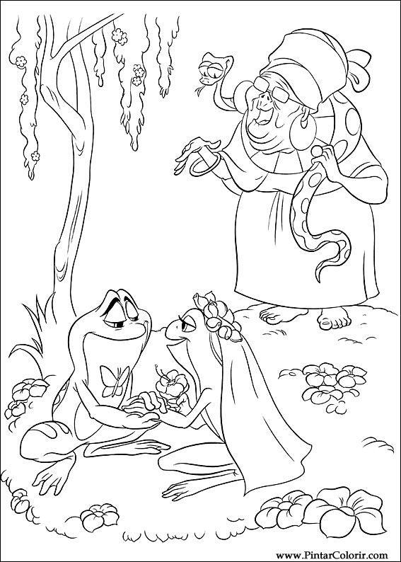 Dibujos para pintar y Color princesa rana - Diseño de impresión 058