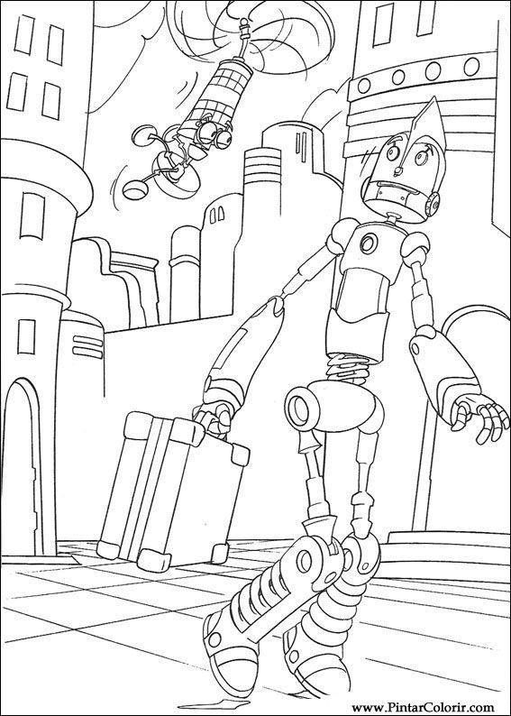 Dibujos Para Pintar Colour Robots Imprimir Diseño 014