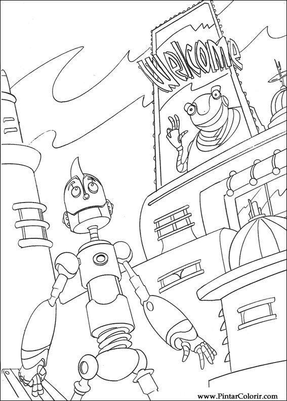 Desenhos Para Pintar E Colorir Robos Imprimir Desenho 016