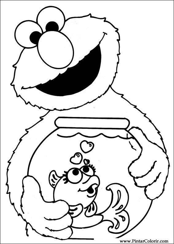 Kleurplaten Kerst Sesamstraat.Tekeningen Te Schilderen Kleur Sesamstraat Print Design 035