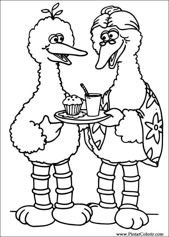 Kleurplaten Kerst Sesamstraat.Tekeningen Te Schilderen Kleur Sesamstraat Print Design 073