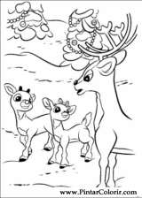 Pintar e Colorir Rudolph - Desenho 020