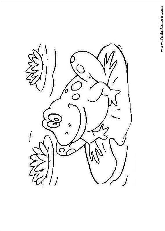 Dibujos para pintar y Color de la rana - Diseño de impresión 005
