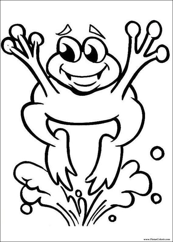 Dibujos para pintar y Color de la rana - Diseño de impresión 020