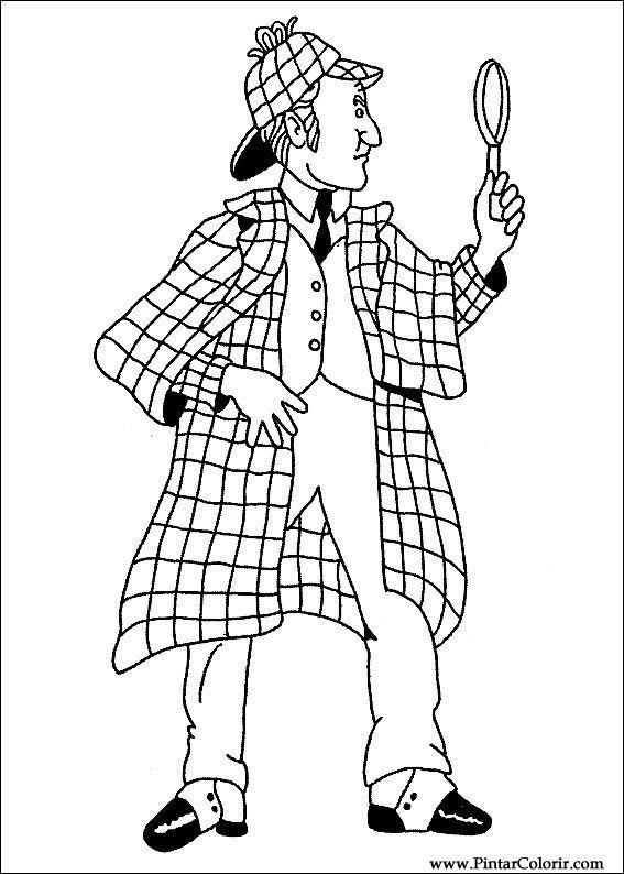 Pintar e Colorir Sherlock Holmes - Desenho 001