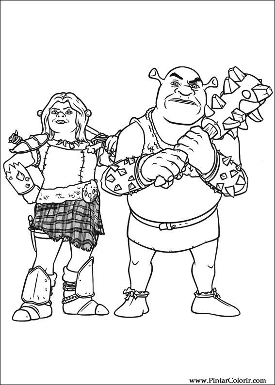 Dibujos para pintar y Color Shrek Forever After - Diseño 019 Imprimir