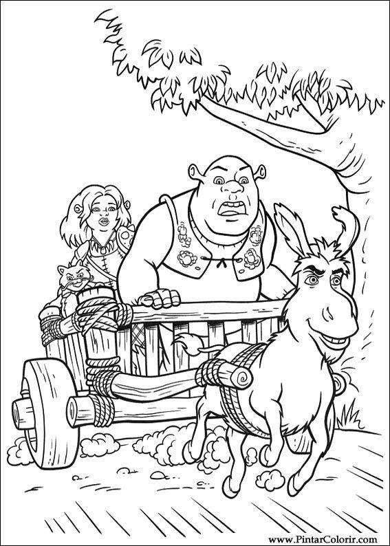 Dibujos para pintar y Color Shrek Forever After - Diseño 063 Imprimir