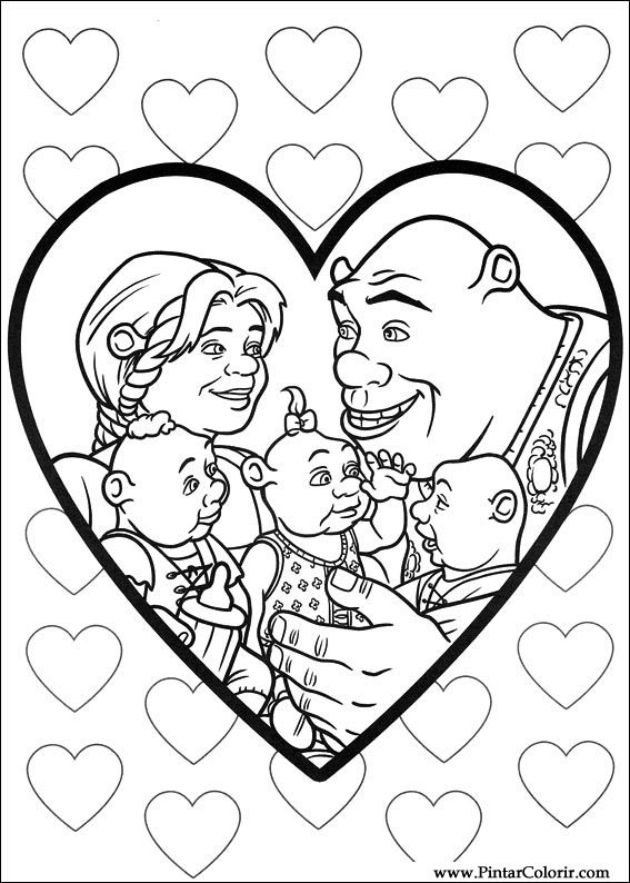 Dibujos para pintar y Color Shrek Forever After - Diseño 072 Imprimir