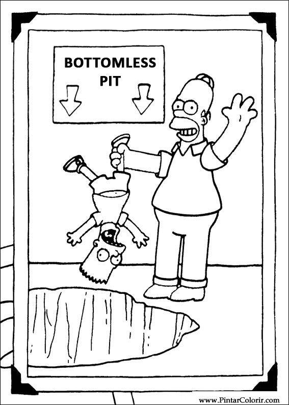 Dibujos para pintar & Colour Simpsons - Diseño de impresión 012