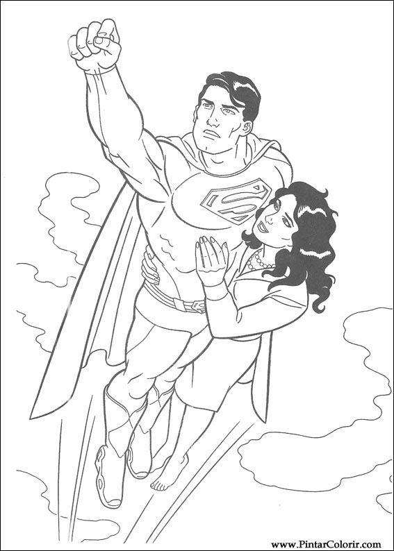 Dibujos para pintar y Color Superman - Diseño de impresión 024