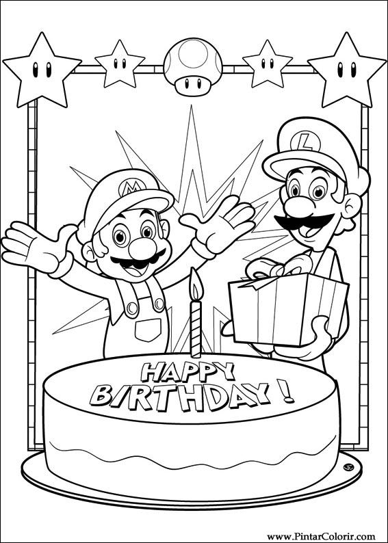 Drawings To Paint Colour Super Mario Bros Print Design 004