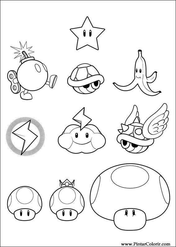 Drawings To Paint Colour Super Mario Bros Print Design 005