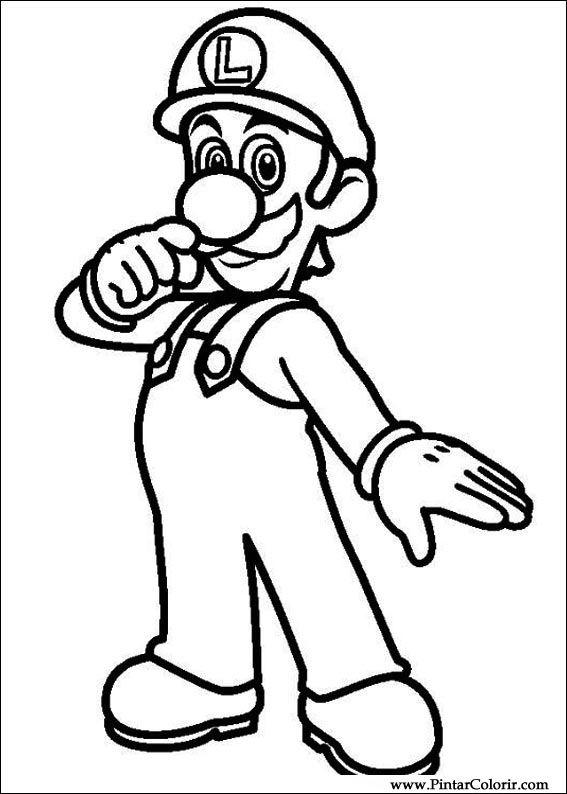 Dessins à Peindre Et Couleur Super Mario Bros Imprimer