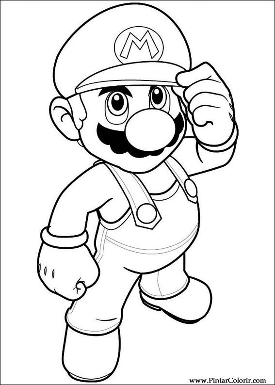 Drawings To Paint Colour Super Mario Bros Print Design 016