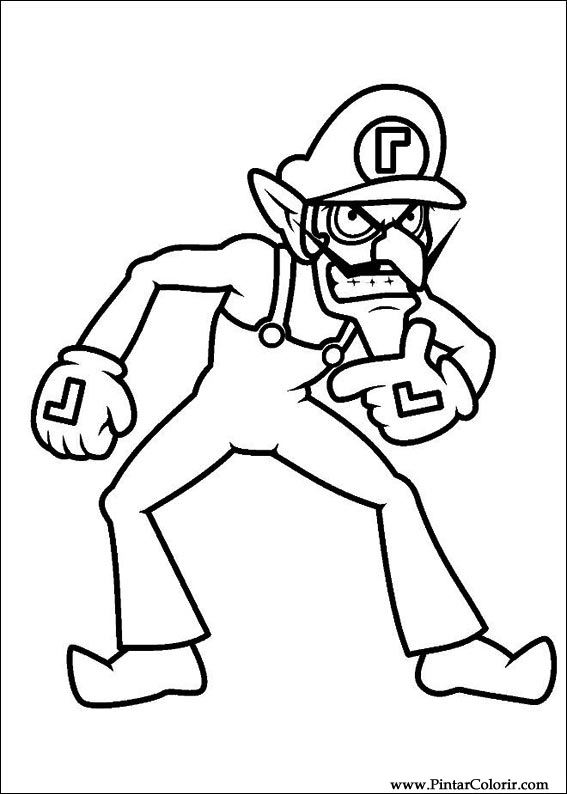 Drawings To Paint Colour Super Mario Bros Print Design 033