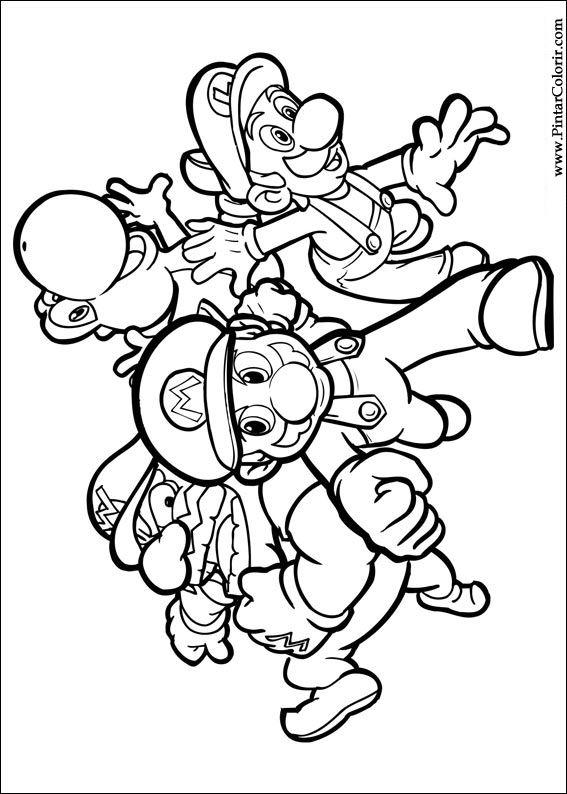 Dibujos Para Pintar Y Color Super Mario Bros Diseno De Impresion 034
