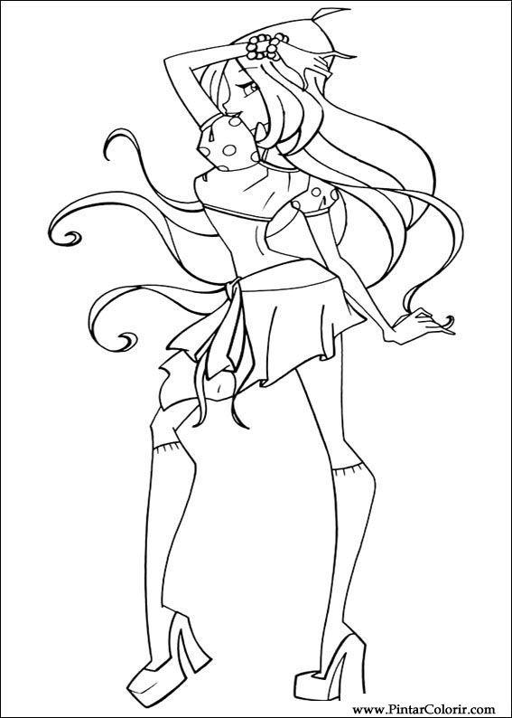 çizimler Boya Ve Renk Winx Club Için Baskı Tasarım 023