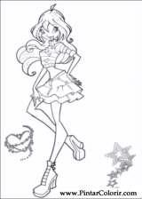 Pintar e Colorir Winx Club - Desenho 008